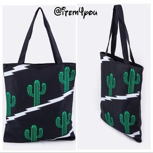 Handbags - Last 1 JUST IN BEACH BAG Cactus Print Fashion Tote